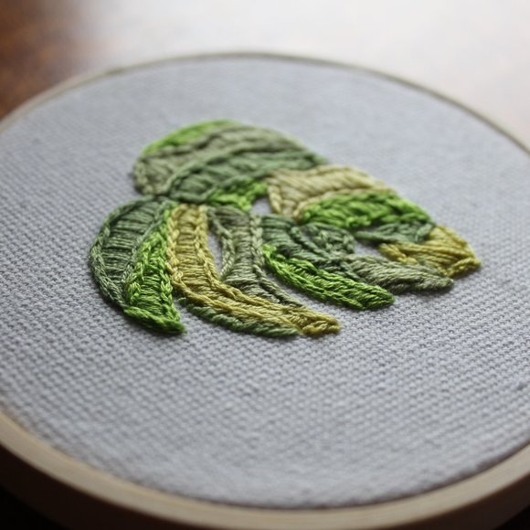 Patchwork Monstera-Hand Embroidered Textile Art